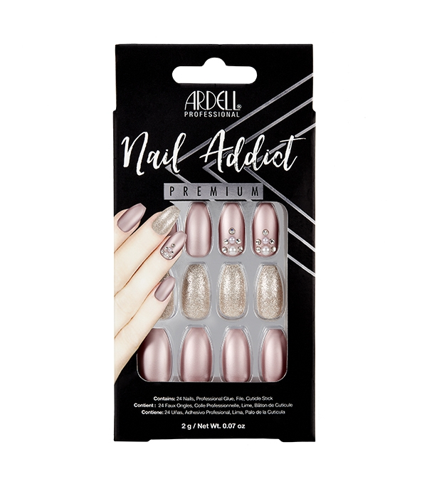 Faux-ongles Prêts à poser Ardell Nail Addict - Metallic Lilac Pearl