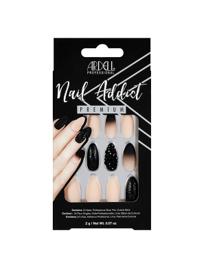 Faux-ongles Prêts à poser Ardell Nail Addict - Black Stud & Pink Ombre